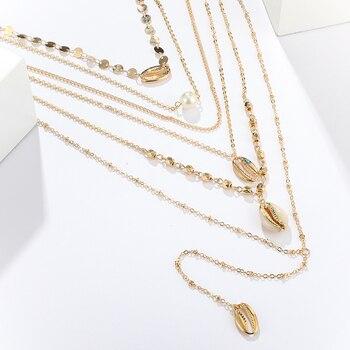 Collar con colgante de cuentas de concha de perla de caparazón de color dorado bohemio de Docona para mujer, cadena Punk, joyería de varios niveles C19208
