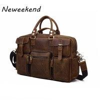 NEWEEKEND 3061 Винтаж из натуральной кожи Crazy Horse мульти карман 13 дюймов сумки Crossbody Чемодан ноутбук сумка для человека