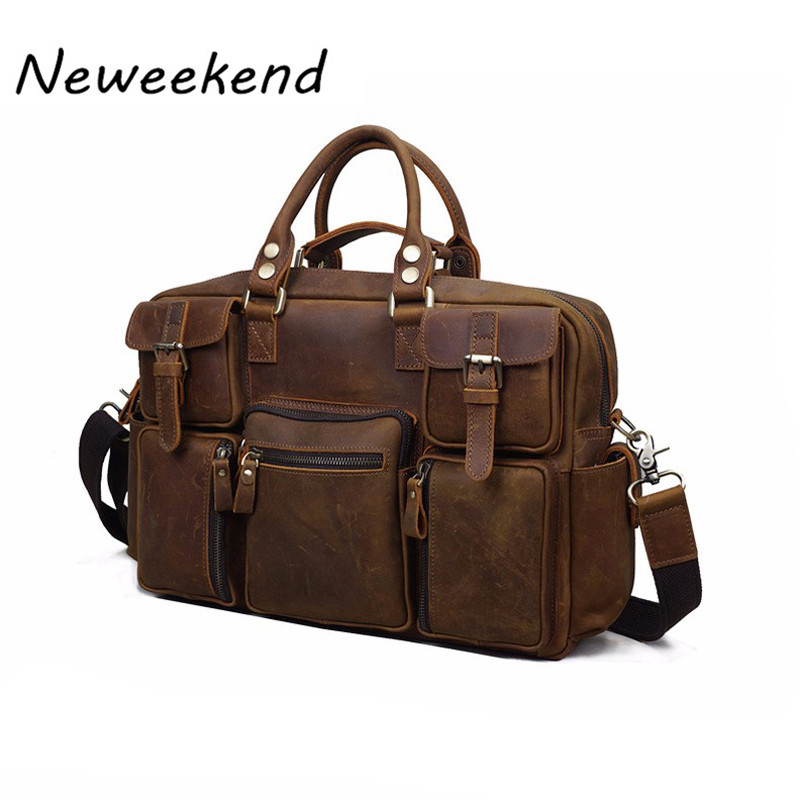 NEWEEKEND 3061 Vintage Genuine Leather Crazy Horse Multi-Pocket 13 Inch Handbag Crossbody Travel Luggage Laptop Bag for Man neweekend 1005 vintage genuine leather crazy horse large 4 pockets camera crossbody briefcase handbag laptop ipad bag for man