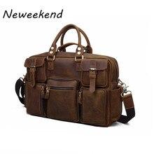 NEWEEKEND 3061 Vintage Genuine Leather Crazy Horse Multi Pocket 13 Inch Handbag Crossbody Travel Luggage Laptop