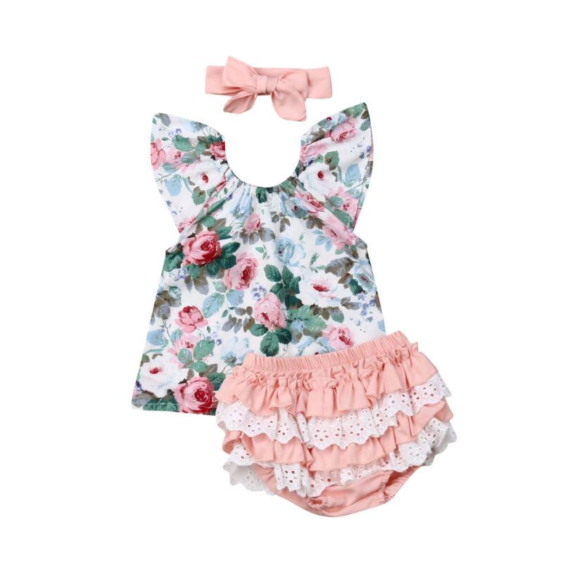 US 2019 Brand Infant Newborn Baby Girls Short Sleeve T-shirt Floral Print + Multi-layer Shorts Summer +Headband Outfit Girls Set