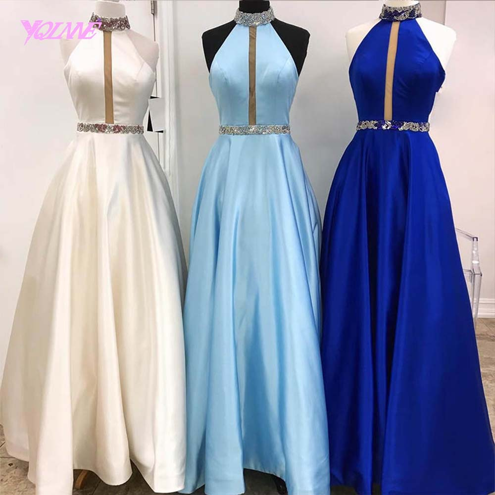 YQLNNE Royal Blue Long   Prom     Dresses   2019 Evening Gowns Women Party   Dress   Satin YQLNNE