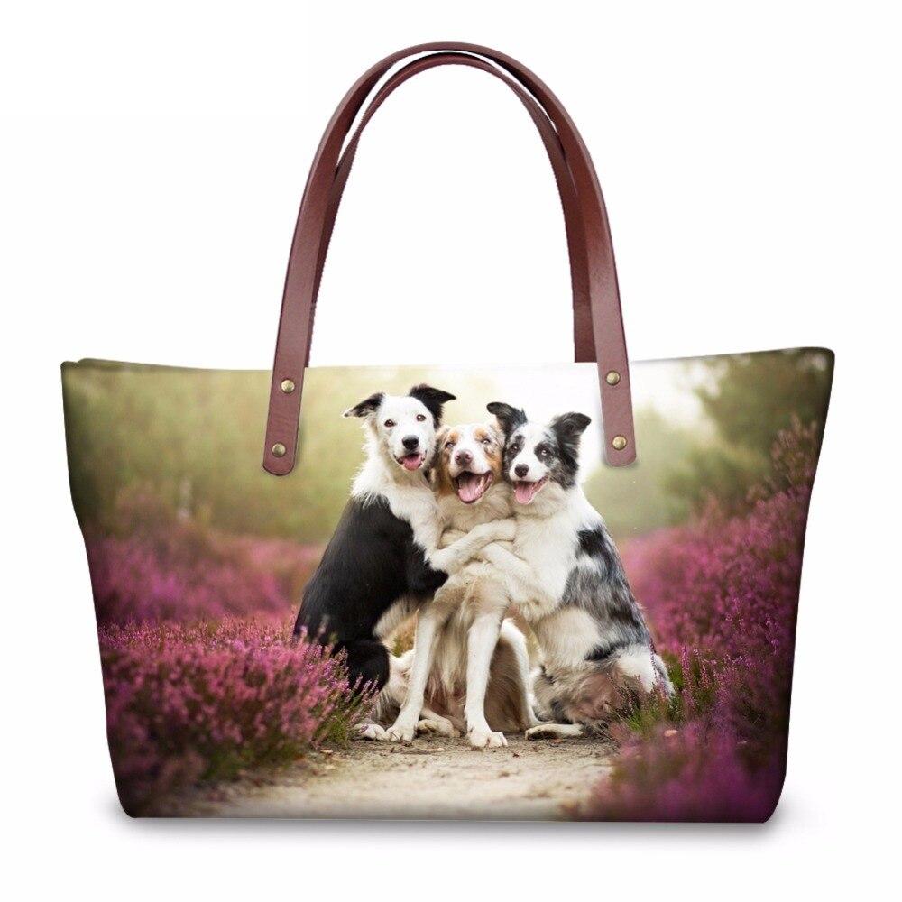 4b13ebb6588a0 INSTANTARTS Frauen Große Kapazität Einkaufstaschen 3D Tier Hunde Katzen  Print Lady Reise Tote Umhängetaschen Marke Top