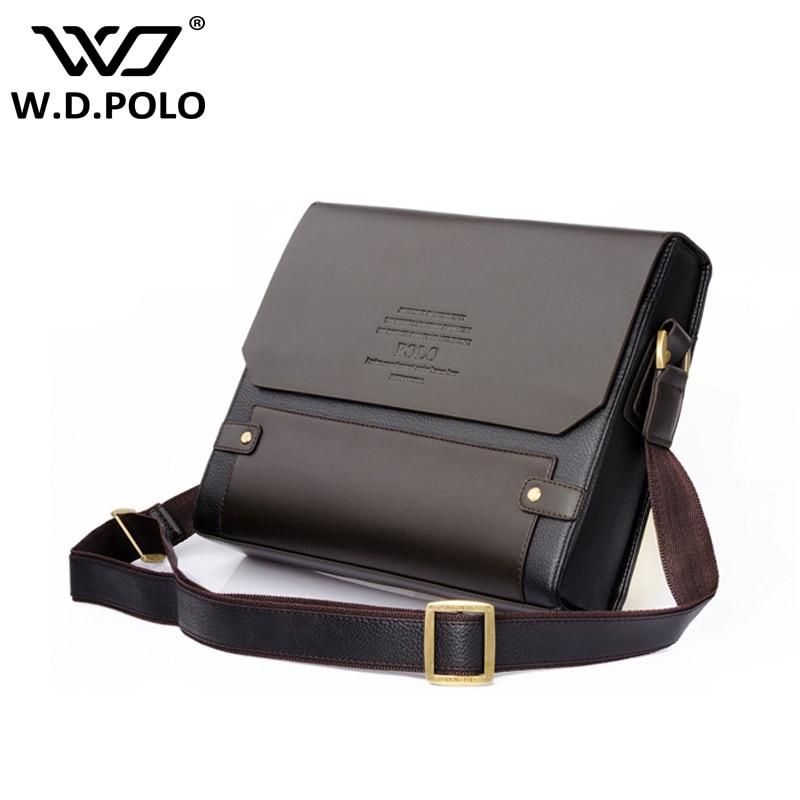 WDPOLO Men Pu Leather shoulder bag gentle men business hand bags contract bags men messenger bag
