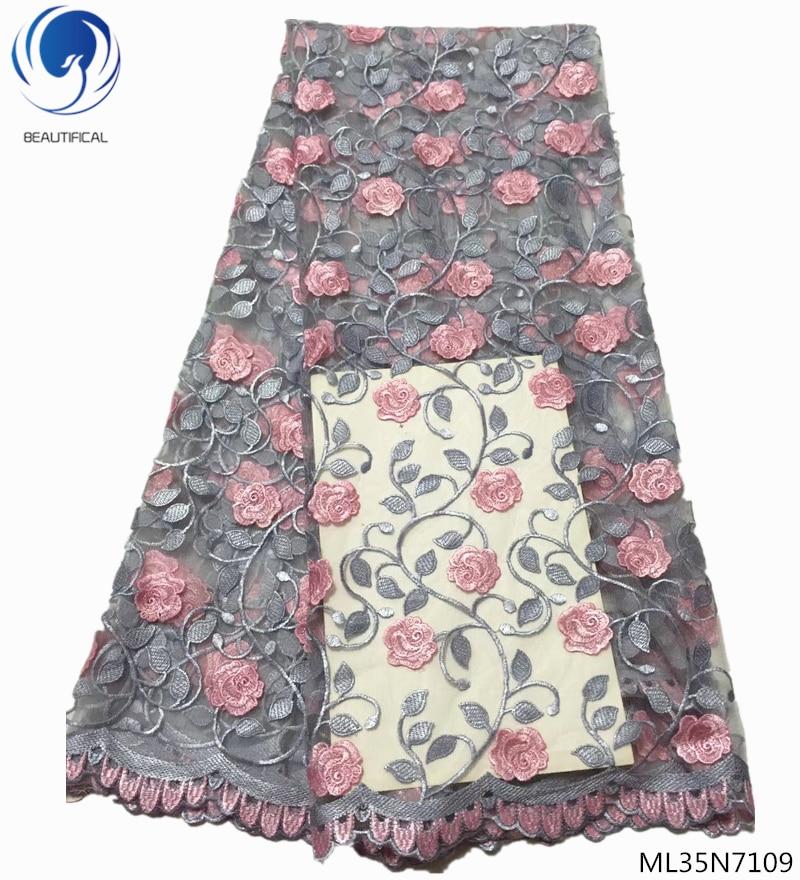 Ev ve Bahçe'ten Dantel'de GÜZEL afrika dantel kumaşlar son çiçek dantel kumaş nakışlı ağ dantel kumaş 2019 kalite 5 yards/lot satış ML35N71'da  Grup 1
