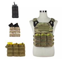 M4 AK Taktisk Tre Typ Nylon Tactical Molle Vest Army Militär Airsoft Single / Double / Triple Magazine Väska Jakt Accessory