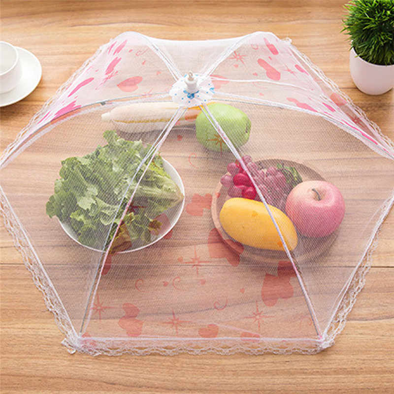 Collapsible Food Covers Lace Net Yarn Umbrella Foldable Anti-mosquito Fly Table Decoration Dust Cover Kitchen Tools