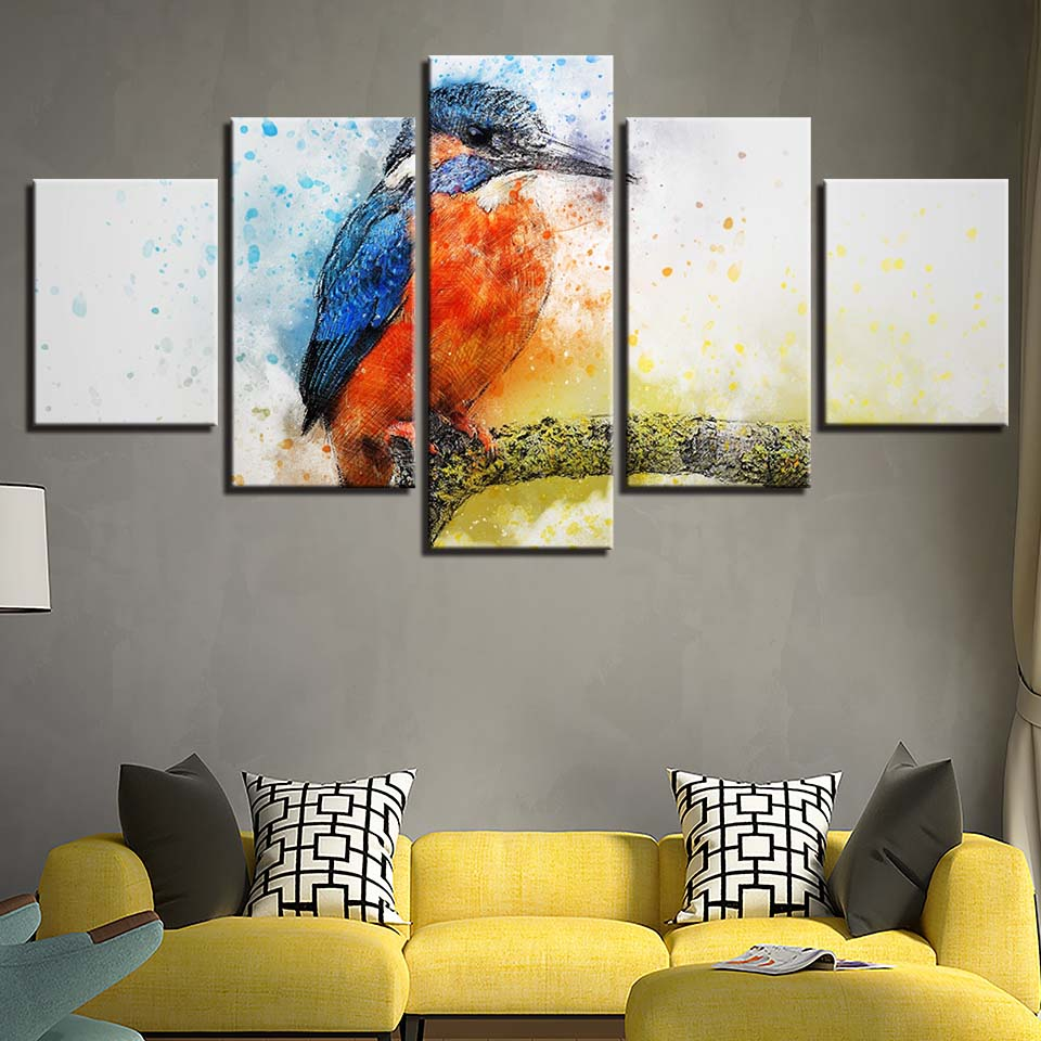 5 Piece Canvas Painting Animal Common Kingfisher room decor print poster framed wall art