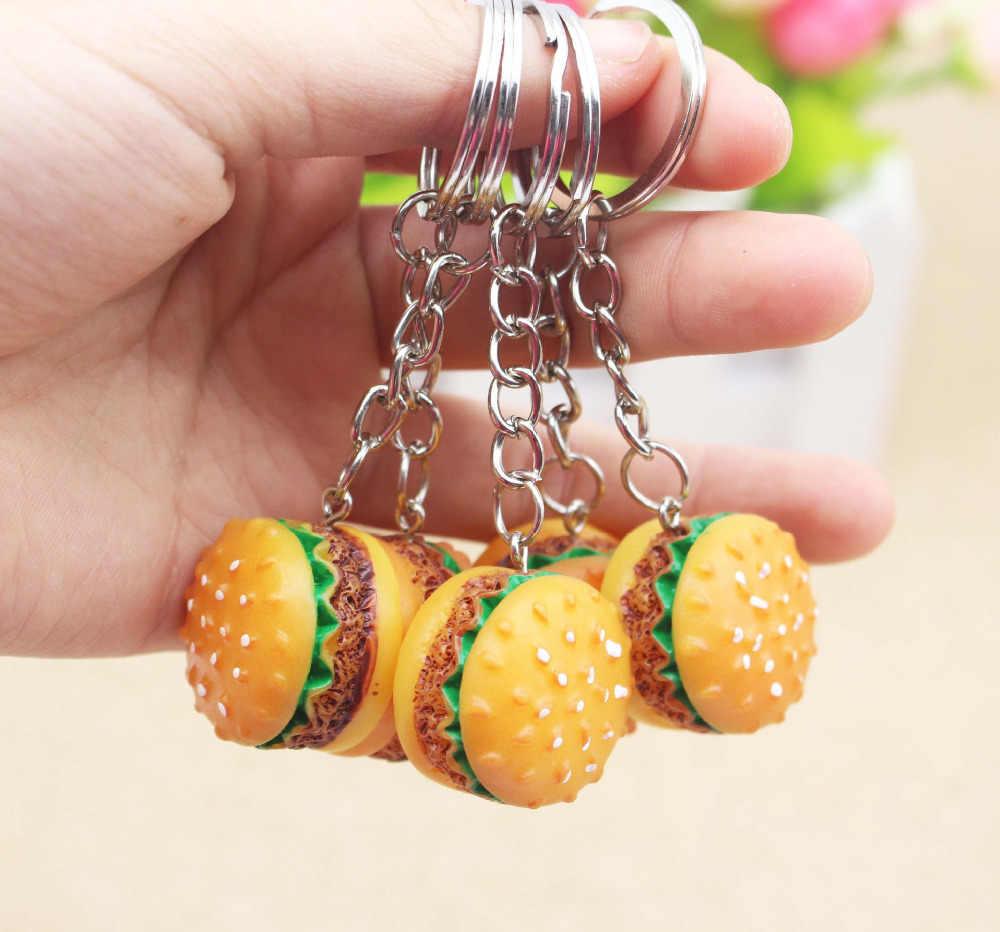12 cái/lốc Hợp Kim Nhựa Bánh Hamburger Thực Phẩm Gần Như Thực Phong Cách Hợp Thời Trang KeyRing KeyChain