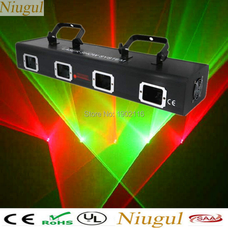 Niugul Professional 4 Lens Red green color laser RG laser projector disco dj lighting club bar laser led beam with Free shipping rg mini 3 lens 24 patterns led laser projector stage lighting effect 3w blue for dj disco party club laser