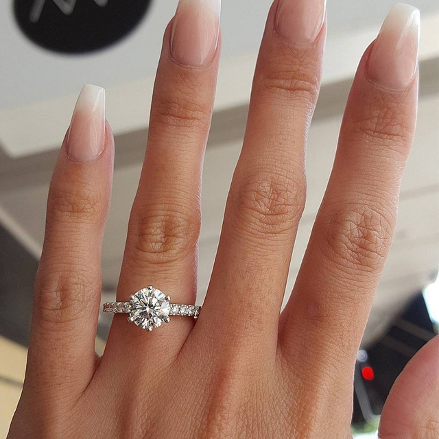 KISS WIFE Classic Engagement Ring 6 Claws Design AAA White Cubic Zircon Female W