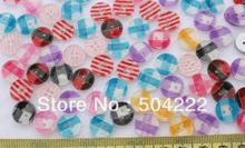 set of 300 pcs Rainbow Colorful glitter resin stripes chequer craft Sewing Sew On Buttons Set