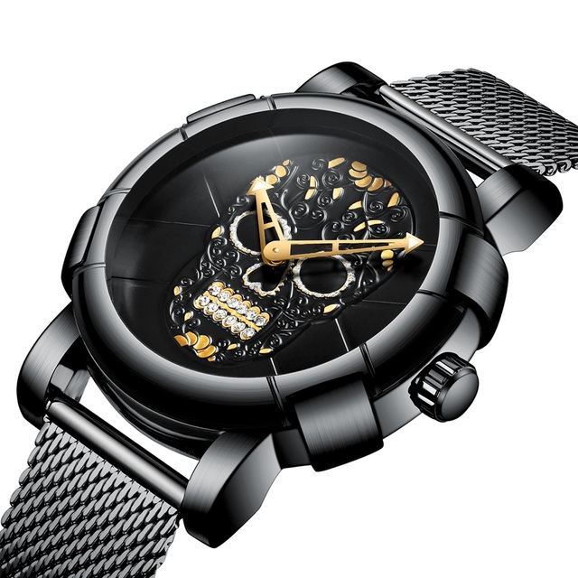 3D Skull Black Stainless Steel Gold Rhinestone Wristwatch