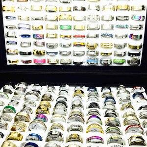 Image 4 - MIXMAX ensemble de bagues pour femmes, vente en gros, 100 pièces, ensemble de bagues en acier inoxydable, couple, bijoux, cadeaux de fête, livraison directe