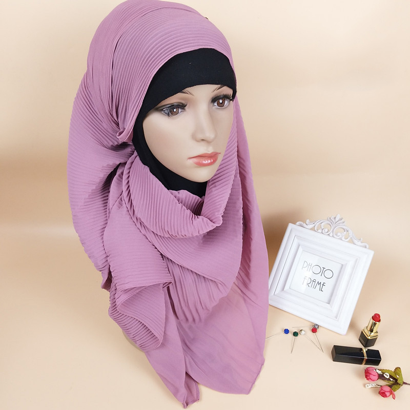 2019 women solid plain pleated bubble chiffon hijab   scarf     wraps   soft long Islam foulard shawls muslim georgette   scarves   hijabs