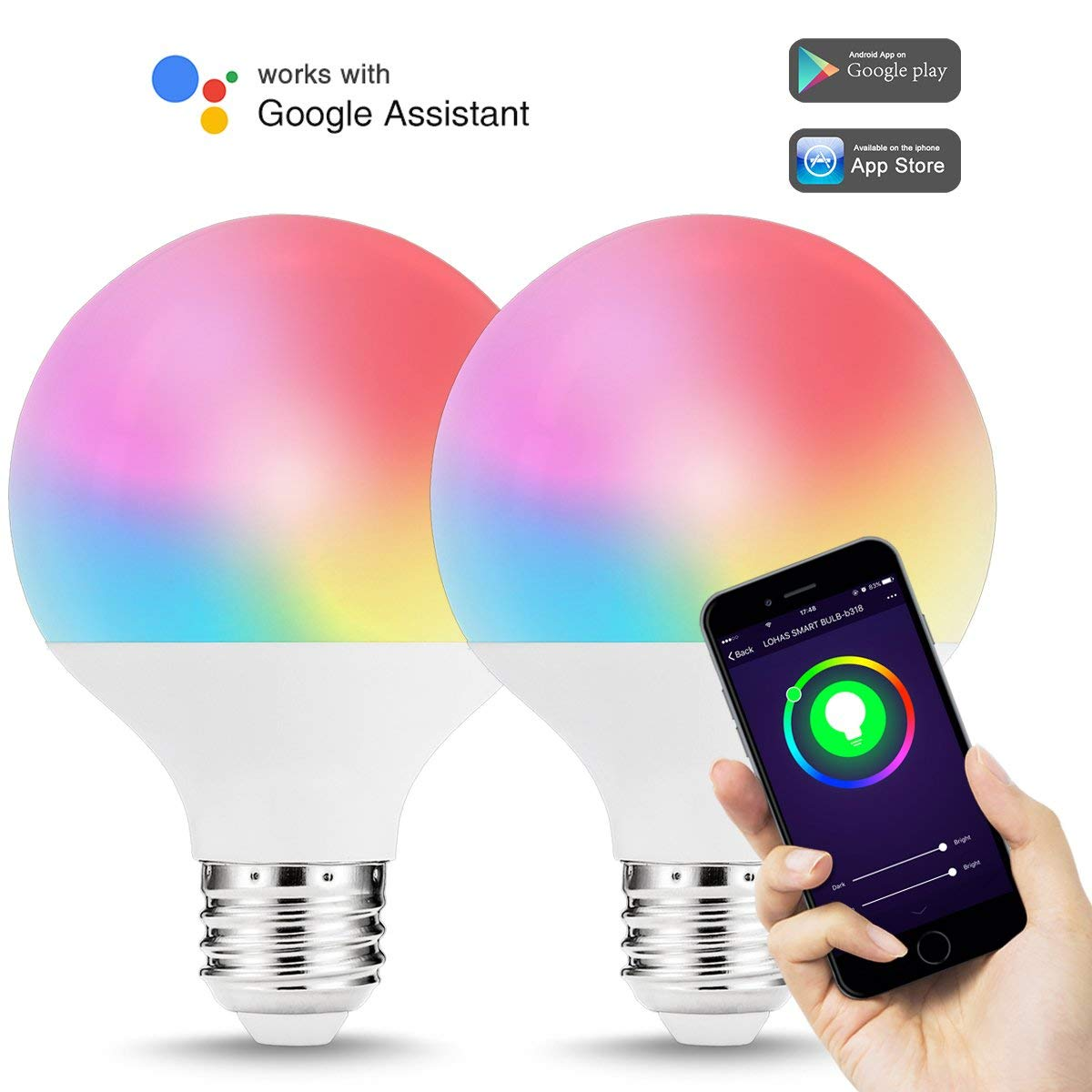 WIFI Smart LED Bulb Light G25 9W E26 Base 810LM Multicolor Changing Daylight 5000K Compatible with