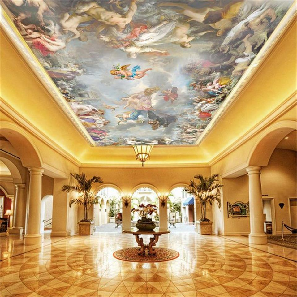 3D wallpaper custom size photo wallpaper living room ceiling mural angel gods of heaven painting non-woven wallpaper for wall 3d european style wallpaper mural living room ceiling ceiling wallpaper 3d three dimensional bedroom environmentally friendly non w