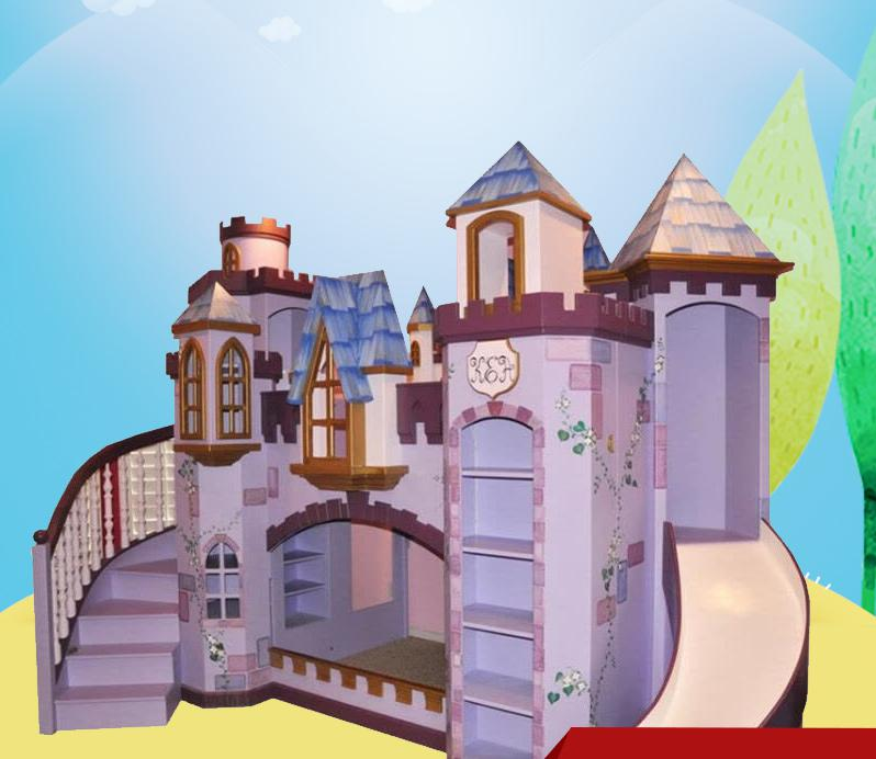Solid Wood Customized Children's Princess Castle Furniture  Bed Sets
