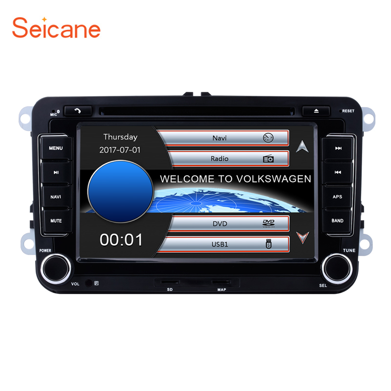 Seicane 2DIN universal 7 800*480 Wince CE 6.0 GPS Bluetooth Car FM Radio DVD Player For VW Polo Golf SKODA SEAT Support SD DVR
