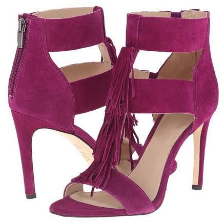 fuchsia fringe high heel women summer sandals open toe