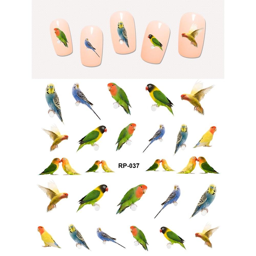 Нейл-арт, водная наклейка, слайдер для ногтей, птица, попугай, Попинджей, дятел, Орел, ласточка, фазан, лебедь RP037-042