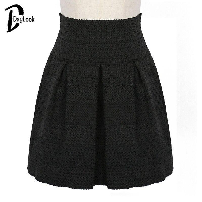 dbaaaa3ca2 DayLook estilo de verano elegante verde menta alta cintura faldas Womens  Sexy negro vendaje falda A line plisado Spandex 3 colores Saia en Faldas de  La ropa ...
