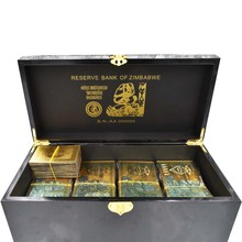 1000pcs Zimbabwe Gold Banknote with Wooden Box Home Decorative One Hundred Trillion Dollar 24k Plated Money Gifts
