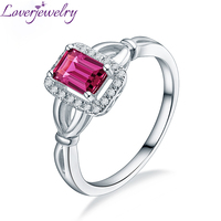 Loverjewelry 14K White Gold Pink Tourmaline Diamond Ring Good Quality Gemstone Jewelry Wholesale Free Shipping For