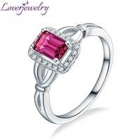Loverjewelry 14K White Gold Pink Tourmaline Diamond Ring Good Quality Gemstone Jewelry Wholesale Free Shipping For