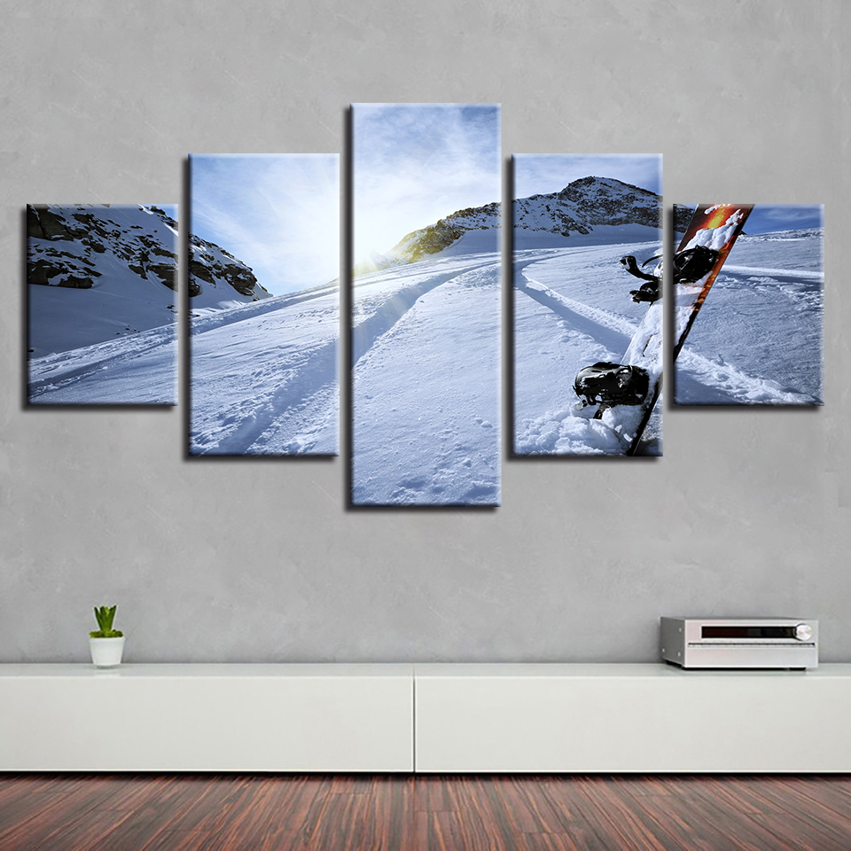 Framework HD Printed Modern Canvas Living Room 5 Panel Sports Ski Painting Wall Art Modular Poster Home Decoration Pictures