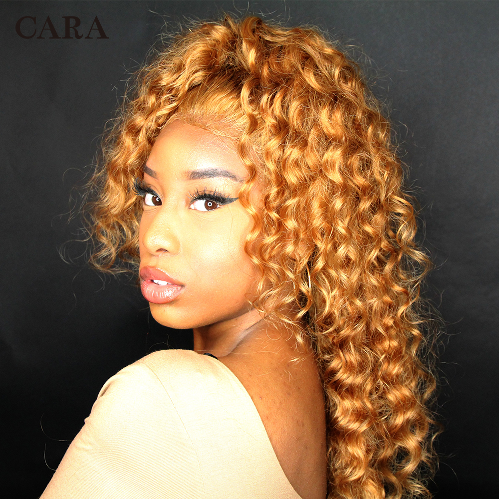 Pre Plucked Lace Front Human Hair Wigs With Baby Hair 250% Brazilian #27 Honey Blonde Color Loose Wave Lace Wig CARA Remy Hair