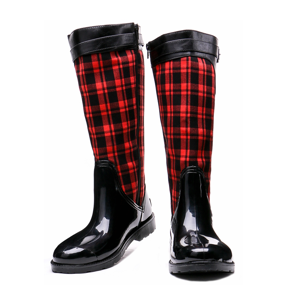 TONGPU Black and Red Fashion Design Womens Mid-Calf Side Zipper Waterproof Outdoor Rain Boots 154-269