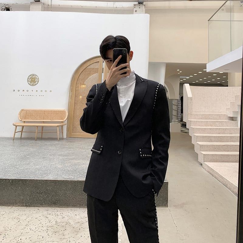 Men Streetwear Hip Hop Punk Rivet Casual Slim Fit Suit Blazer Jacket Male Vintage Fashion Suit Coat Spring Autumn Overcoat