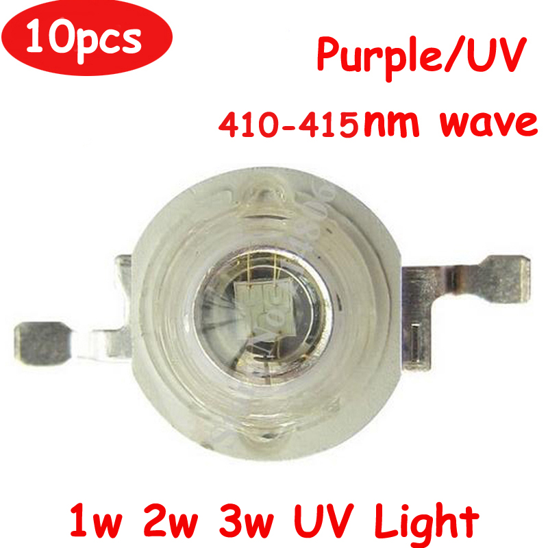 10pcs/lot Full Power 1W 2W 3W 45mil Chip UV/Purple Ultraviolet 410~415nm 600-700mA LED Light Lamp Chip
