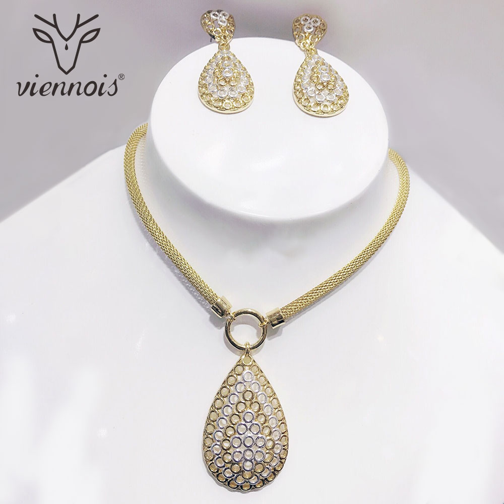 Viennois Mix Silver /Gold Color Hollow Out Drop Earrings Jewelry Set for Women Jewelry Sets New