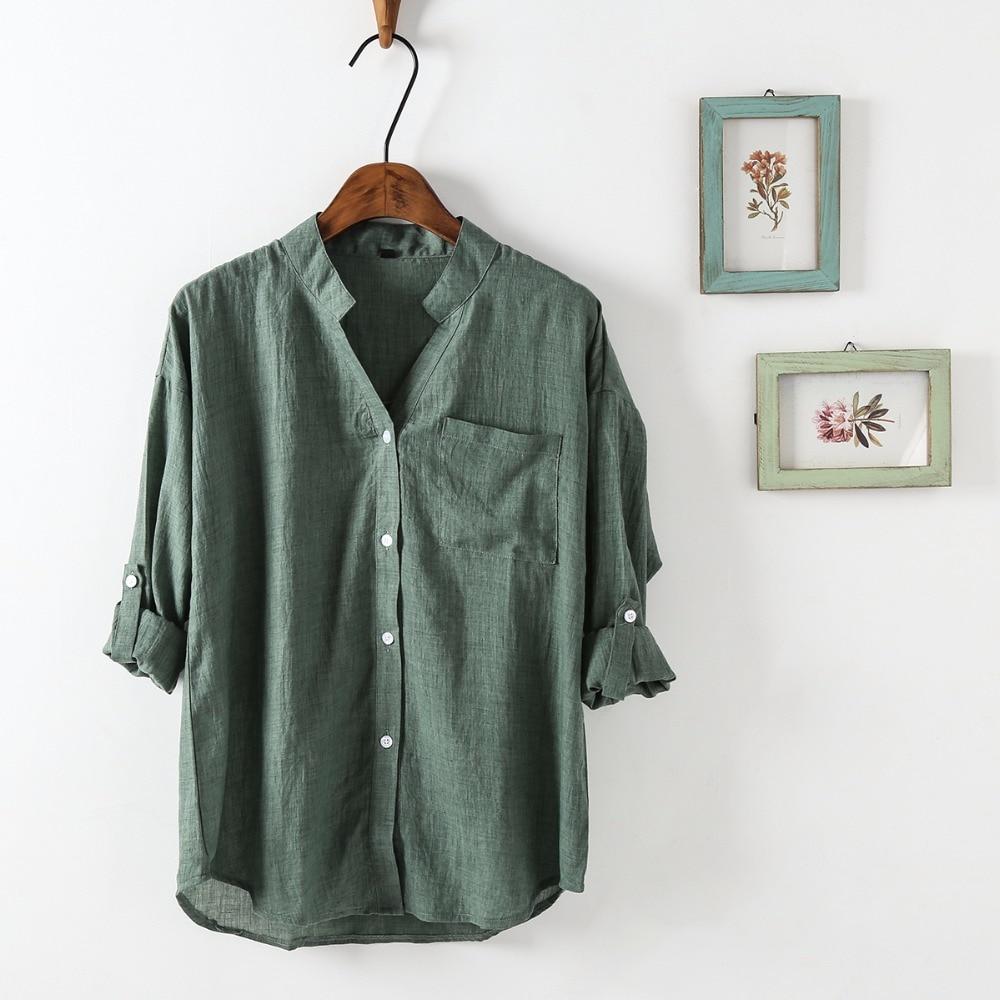 Dioufond Ljeto V-izrez Pamuk Tanke Žene Košulje Tri Četvrt Ženski - Ženska odjeća - Foto 4