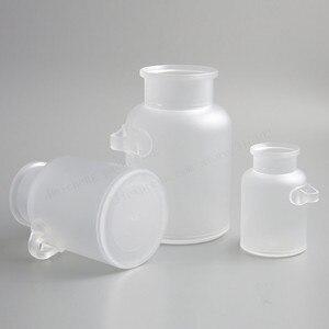 Image 5 - 12 x vazio 100g 200g 300g 500g em pó garrafa plástica 100g banho frasco de sal com cortiça de madeira & colher de madeira