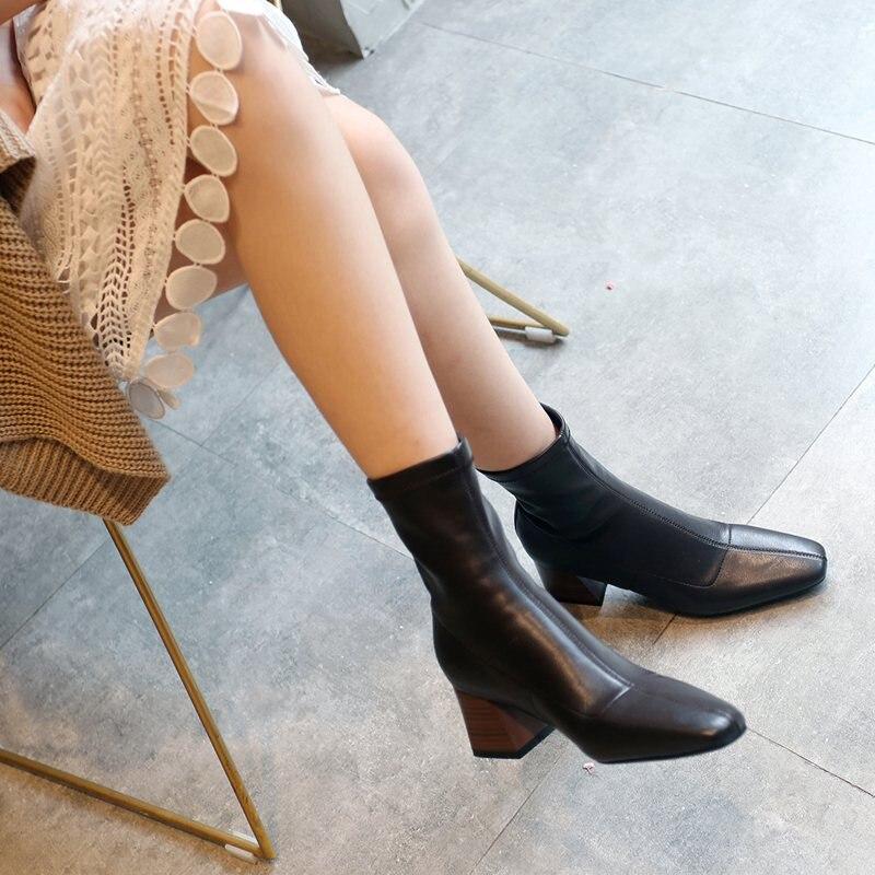 Krazing Pot 2019 zapatos de cuero de microfibra tacones altos slip on Winter dailywear gladiador punta cuadrada estiramiento Mediados de pantorrilla botas l43-in Botas a media pierna from zapatos    3