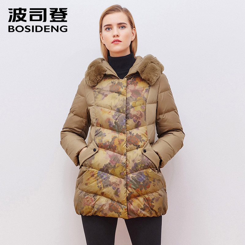 BOSIDENG duck   down   jacket women   down     coat   winter outwear female hoodie fur collar large size print royal style slim B1501256B