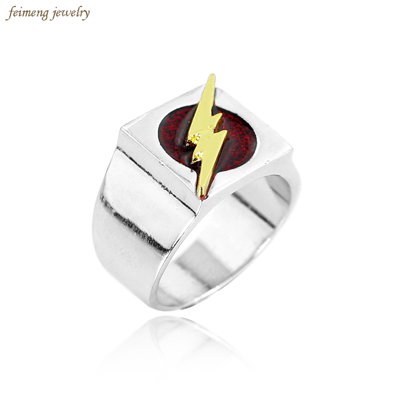New Fashion Superhero the Flash Ring with Gold Flash Lighting Logo Silver Plated Ring DC Movie Comic Ring Jewelry