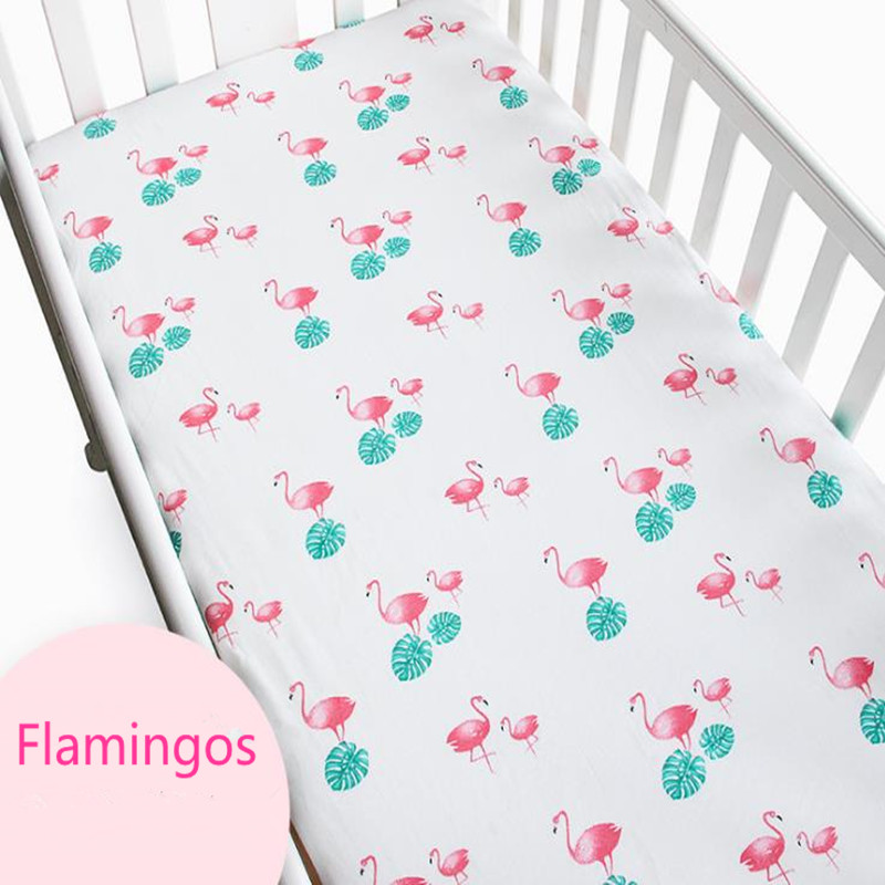 Baby Mattress Cover Cotton Knit Cartoon Flamingo Newborn Bed Mattress Cover Protector Child Bedspread Crib Fitted Baby Bedding ...