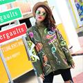 Plus size 2016 autumn women's Thai fashion brand hand painted Skulls pattern 3D beading female loose trench w1529  free shipping