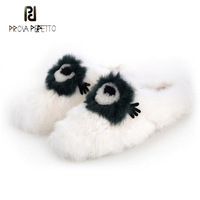 Prova Perfetto winter new women casual shoes black mixed color cartoon eyes decoration slippers cover toe white fur mules shoes