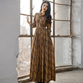 HIGH QUALITY Newest 2017 Designer Maxi Dress Women's Long Sleeve Floral Striped Full Long Dress