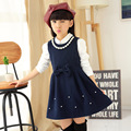 Girls Clothing 2016 Autumn Winter Girls Clothes Wool Vest Girls Dress Pearls Bow School Princess Dress 5-13 years Kids Clothes