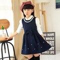 Roupas meninas 2016 Outono Inverno Meninas Roupas de Lã Colete Meninas Vestido de Pérolas Arco Escola Vestido de Princesa 5-13 anos Roupa dos miúdos