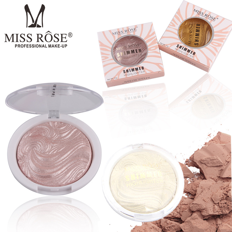 MISS ROSE 1Pc Baked Glitter Powder Primer Oil-Control Face Makeup Bronzer Highlighter Contour Powder Highlight Cosmetics 6 Style