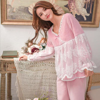 Japan style lace sweet Pajamas female flannel thicken winter new princess tops + pants 2 Pieces sets v neck home clothes gx1397