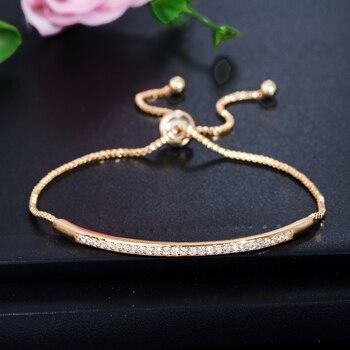 CWWZircons Adjustable Bracelet Bangle for Women Captivate Bar Slider Brilliant CZ Rose Gold Color Jewelry Pulseira Feminia CB089 2
