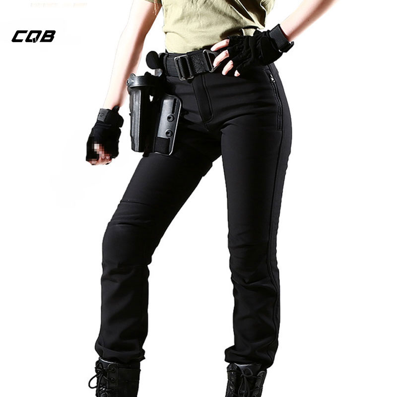CQB Outdoor Sport Tactical Softshell Women Pants Camping Hiking Water Repellent Fleece Lining Windproof Slim Fit Trousers